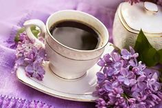cup in a porcelain of coffee and flowers of lilac Coffee Stock, My Coffee, Coffee Time, Coffee Beans, Tea Time, Tea Quotes, Coffee Quotes, Have A Great Thursday, Tea And Books
