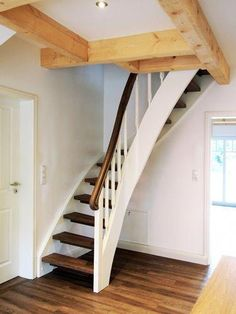 Space-saving staircase a staircase solution for the development of attic rooms . - Space-saving staircase is a staircase solution for opening up attic rooms - Space Saving Staircase, Small Staircase, Loft Staircase, Tiny House Stairs, Attic Stairs, Staircase Design, White Staircase, Attic Bedroom Small, Attic Rooms