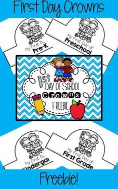 FREEBIE! Includes crowns for preschool, pre-k, kindergarten, 1st grade and 2nd grade. Preschool First Week, Beginning Of Kindergarten, First Day Of School Activities, 1st Day Of School, Beginning Of The School Year, Starting School, Teaching Kindergarten, Kindergarten Classroom, School Fun