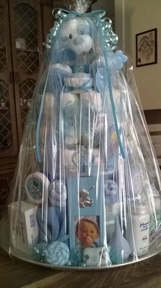 Bab Shower Diaper Cake for Boy Wrapped