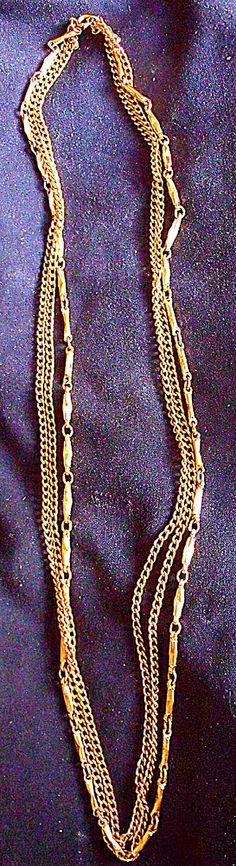 Gold Tone Multi Strand Fancy Chain Necklace by EstatesInTime