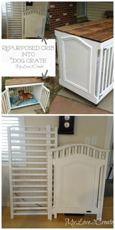DIY wooden dog crate with plans and instructions!DIY wooden dog crate with plans and instructions! Try it simple DIY dog beds and crates to pamper your puppy Dog Crate Furniture, Repurposed Furniture, Repurposed Wood, Concrete Furniture, Furniture Removal, Furniture Refinishing, Refurbished Furniture, Furniture Redo, Furniture Ideas