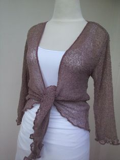 c984e692e1 Stretch Bolero Knit Cardigan Shrug NOUGAT Ladies Cardigan brown Short  Cardigan tunic onesize summer jacket Bolero 3 4 sleeves