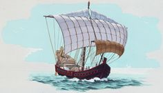 817732. Accurate painting of Roman merchant ship based on excavated shipwreck.