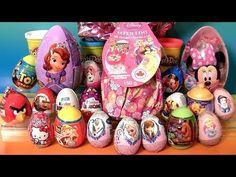 Giant Princess Kinder Surprise Eggs Disney Frozen Elsa Anna Minnie Mickey Play-Doh Huevos Sorpresa - YouTube