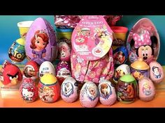 Giant Princess Egg Kinder Surprise Disney Frozen 3D Olaf Elsa Anna Giant Minnie Mickey Play Doh Eggs