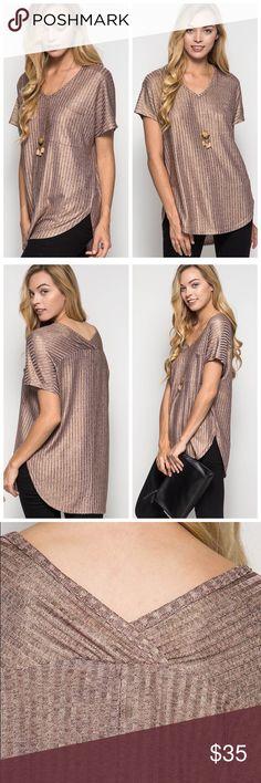 Metallic Rose gold t-shirt V neck rounded bottom metallic Rose gold t-shirt. Oversize fit Tops Tees - Short Sleeve