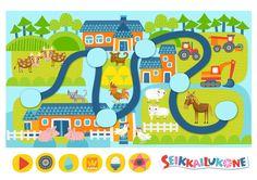 Seikkailukone | tulostettava | paperi | kartta | peli | tehtävä | maatila | lapset | game | map | farm | children | kids | free printable | Pikku Kakkonen