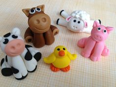 Fondant Farm Animal Cake Toppers Set of 5 by SweetIdeaCreations