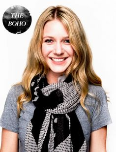 The Boho Ways To Tie Scarves, Ways To Wear A Scarf, Fall Scarves, How To Wear Scarves, Look Fashion, Diy Fashion, Fashion Beauty, Fashion Outfits, Fashion Tips