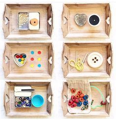"""Love everything about the way Montessori schools sort their """"work"""". Maria Montessori, Montessori Trays, Montessori Preschool, Montessori Education, Montessori Classroom, Montessori Materials, Preschool Activities, Montessori Practical Life, Infant Activities"""