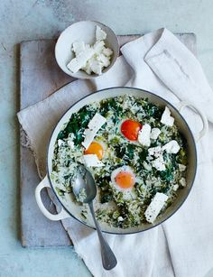 This veggie comfort food recipe is packed with the fresh flavours of dill and creamy feta. The perfect Friday night dinner for four. Curry Recipes, Rice Recipes, Cheesy Recipes, Paleo Recipes, Egg Rice Recipe, Food And Travel Magazine, Vegetarian Side Dishes, Vegetarian Meals, Onion Vegetable