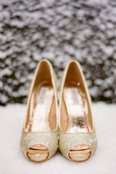 Winter wedding shoes, Gold winter wedding shoes, 2014 Valentine's Day ideas  www.loveitsomuch.com
