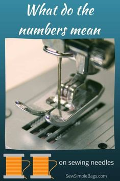 Everything you need to know about sewing machine needles including what the numbers and colors mean on the needle, how, when and why to replace the needle in your sewing machine, and the different types of sewing machine needle, and when you would use them. A complete sewing needle 101 list of questions answered for sewing beginners. Sewing Lessons, Sewing Hacks, Sewing Tips, Sewing Projects, Sewing Needles, Embroidery Needles, Easy Sewing Patterns, Bag Patterns To Sew, Pvc Fabric
