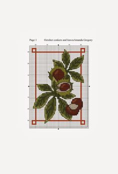 conkers October free cross stitch chart | Amanda Gregory cross-stitch design