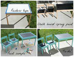 Chalk board kids table
