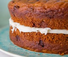 "The Most Delicious Chocolate Chunk Pumpkin Cake Recipe from Andreas Notebook.    Use canned pumpkin,  and pumpkin pie spices. Makes 2 8"" round cakes."