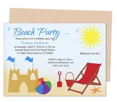 Kids Party Templates : Beach Design Birthday Party Invitations Template. Printable DIY, easy to edit and print.