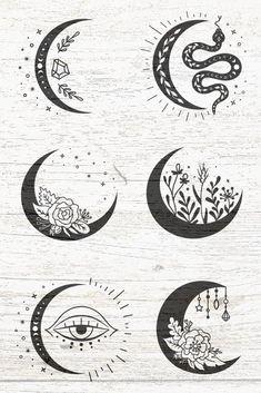 Boho Tattoos, Small Tattoos, Bohemian Tattoo, Moon Silhouette, Silhouette Design, Moon Art, Moon Moon, Shilouette Cameo, Moon Symbols