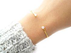 Two Stone Open Cuff Bracelet 2002 by SeoulLittle on Etsy