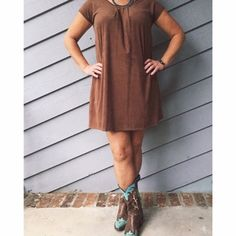 •HP• Brown Suede Mini Dress This is a staple outfit. Dress it up with a dazzling necklace and some of your favorite boots or pumps. New. Dresses Mini