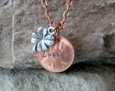 Lucky Penny Necklace, Good Luck Charm, Gift for Her, Necklace Lucky Charm, Stamped Penny Necklace, Penny Necklace, Coin Jewelry