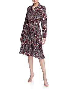 Nanette Lepore Printed Pintuck Button Down Dress In Mauve Blue Dresses, Dresses For Work, Mauve Dress, Button Down Dress, Nanette Lepore, Pin Tucks, Casual Fall, World Of Fashion, Button Downs