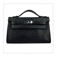 Hermes Kelly Tote Bag Python Leather Black... via Polyvore