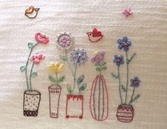 Flower Embroidery Ideas How cute. embroidery - Made from a template in issue 2 of Mollie Makes Cute Embroidery, Hand Embroidery Patterns, Vintage Embroidery, Cross Stitch Embroidery, Embroidery Designs, Flower Embroidery, Japanese Embroidery, Art Patterns, Fabric Crafts