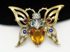 Vintage 1944  REJA Sterling Vermeil Rhinestone Figural Butterfly Brooch Pin  http://www.ebay.com/itm/Vintage-1944-REJA-Sterling-Vermeil-Rhinestone-Figural-Butterfly-Brooch-Pin-/360479944011?pt=Vintage_Costume_Jewelry=item53ee476d4b