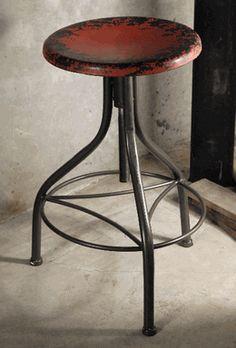 Industrial Metal Stool Red