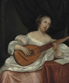 Eglon Hendrik van der Neer (1635/36-1703) — A Woman Playing a Bandora   (851×1024)