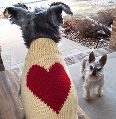 I have included specific instructions for a vest that will fit a dog with a 17.5 inch chest. Also included are easy formulas to customize the sweater to fit your pooch perfectly. This is a very simple pattern to make and a great beginner's intarsia project. Go to www.jojoknits.com/blog for more project info.