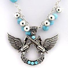 Western Necklace & Earring Set Horseshoe Pistols Rhinestone Turquoise Cowgirl  #WesternFashion