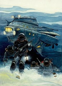 Images from other worlds, other dimensions and other times. Jules Verne, Bilal Enki, Science Fiction, Grand Prix, Leagues Under The Sea, Underwater Creatures, Retro Futurism, Sci Fi Art, Dieselpunk