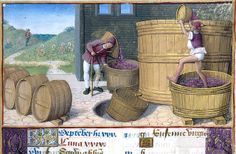 Hours of Henry VIII MS H.Illuminated by Jean Poyer- New York Pierpont Morgan Library- September - Treading grapes