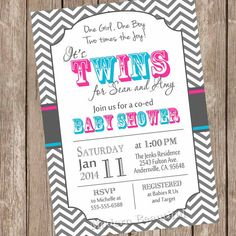 Twins Baby Shower Invitation, twin girl, twin boy, boy and girl twins, pink, blue, chevron, typography, printable, digital file