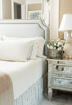 DIY nailhead trim upholstered headboard - EXCELLENT TUTORIAL for this very tailored headboard from bhg.com