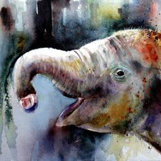 BABY ELEPHANT Original Watercolor by Dean by DeanCrouserArt, $175.00