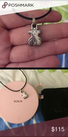 Authentic tous bear necklace purchased inBarcelona Never been worn authentic Tous Necklace- comes with black choker necklace and original packaging- just had necklace professionally cleaned Tous Jewelry Necklaces