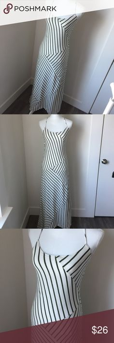 Cute Striped Maxi Dress Maxi dress with cute strap details and pinstripe design. Includes a slip underneath so as not to be see thru.  Great fit. JH Dresses Maxi