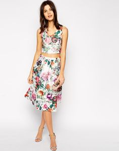 True Decadence | True Decadence Botanical Floral Midi Skirt at ASOS