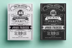 Vintage Birthday Invitation by annago on @creativemarket