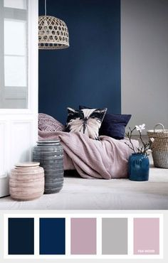 Pink and blue bedroom navy blue mauve and grey color palette color inspiration pink blue white bedroom Navy Bedrooms, Small Bedrooms, Master Bedrooms, Navy Master Bedroom, Living Room Color Schemes, Mauve Living Room, Grey Living Room Ideas Colour Palettes, Living Rooms, Apartment Color Schemes