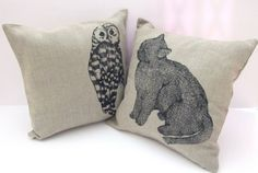 Cushion Cover The owl and the pussycat by carolinedulko on Etsy