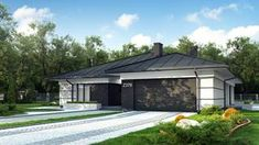 Projekt domu Z378 Parterowy dom z garażem dwustanowiskowym. Home Building Design, Home Garden Design, Building A House, House Plans Mansion, 4 Bedroom House Plans, House Outside Design, Mediterranean Homes, Facade House, Design Case