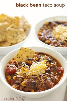 Black Bean Taco Soup {Freezer Meal} – Six Sisters' Stuff i used cubed steak. Freezer Soups, Slow Cooker Freezer Meals, Easy Freezer Meals, Freezer Cooking, Crockpot Meals, Beef Meals, Easy Cooking, Mexican Food Recipes, Soup Recipes