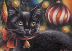 Black Cat Kitten Portrait Christmas Tree Original 7x5 Art Painting by MARTA  | eBay