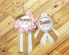 Pink baby corsage Gold baby corsage Daddy to by Fitzthumboutique