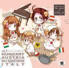 Hetalia - Hungary, Austria, Holy Roman Empire and Chibitalia